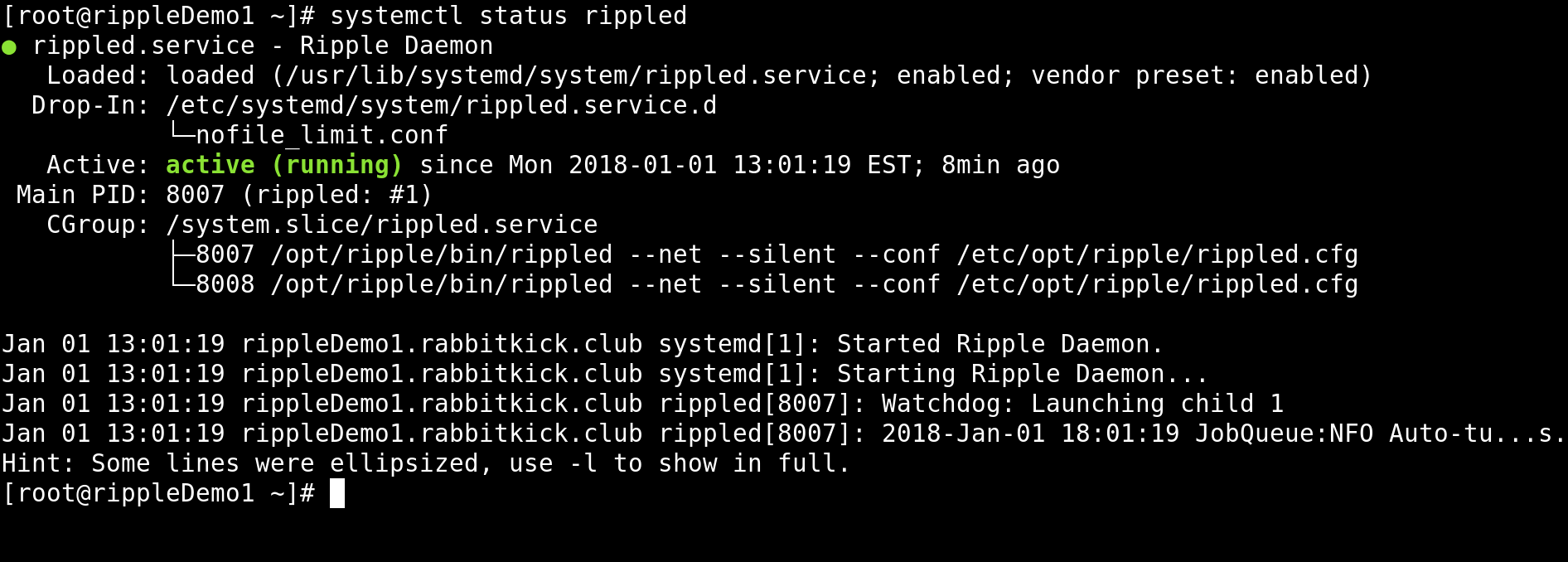 Screenshot of systemctl status rippled command.