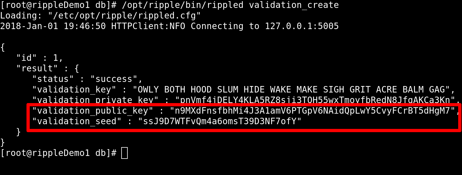 Output from the validation_create command.